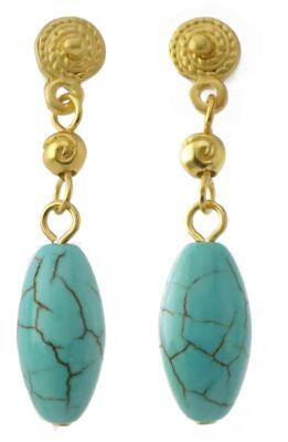 ACROSS THE PUDDLE Oval Turquoise with 24k GP Pre-Columbian Beads Dangle Earrings