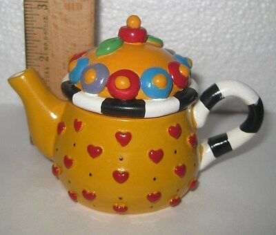 Mary Engelbreit Ink ME  Miniature Teapot Yellow Hearts 1997