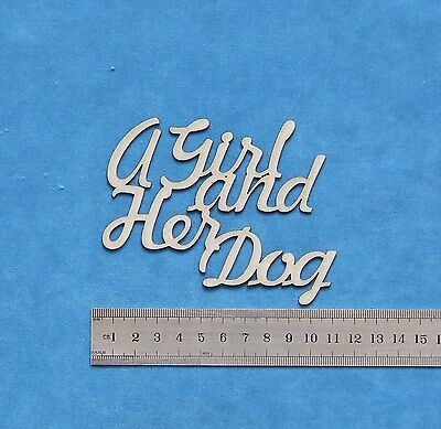 Chipboard A2Z Scraplets A Girl and her Dog Word