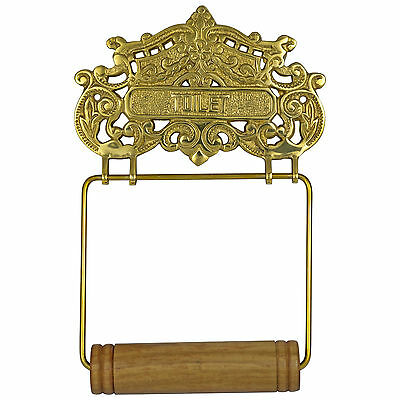 Lovely CAST BRASS Victorian French wall mounted toilet paper holder antique