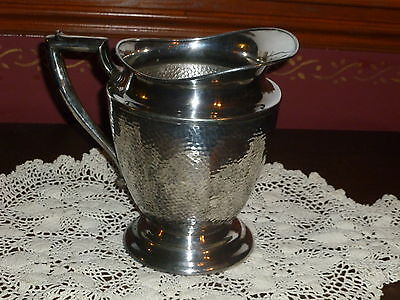 Nice Silverplate Over Nickel Silver Large Hammered Water Pitcher