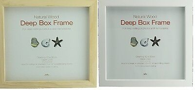 Wooden Deep Box Picture Photo Frame MEMORABILIA in Natural or White Colour
