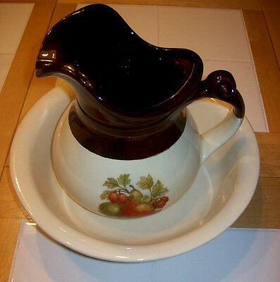 McCoy Pitcher and Basin ~ Cream & Brown Color with Fruit ~ # 7515 Exc Condition!