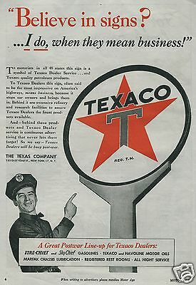 1945 Big TEXACO Sign Dealer Service Gas Station Attendant WWII Trade Print Ad