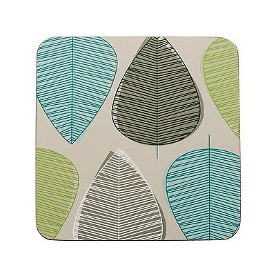 Premier Housewares Set Of 4 10X10Cm Cork Coasters Green Leaf Design Tableware