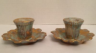 Mid Century STANGL Aqua & 22Kt Gold Taper Candle Stick Holders Pair