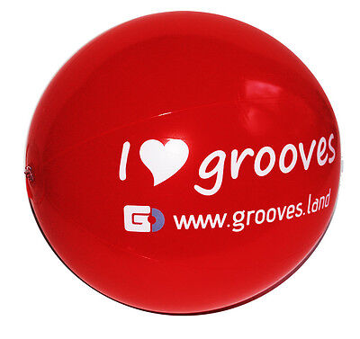"GROOVES.LAND 20 INCH INFLATABLE BLOW BEACH BALL RED ""I LOVE GROOVES"" NEW"