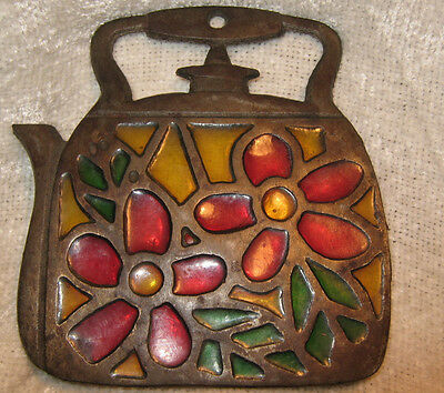 """Vintage Metal Tea Kettle Trivet Stained Glass Rustic Heavy 5""""x 5"""" Good Condition"""
