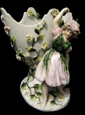 Sitzendorf Rose Girl Porcelain Vase Encrusted with Flowers7.5""