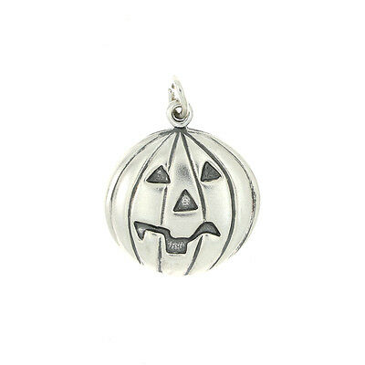 Sterling Silver Puff Style Jack O Lantern Charm Or Pendant