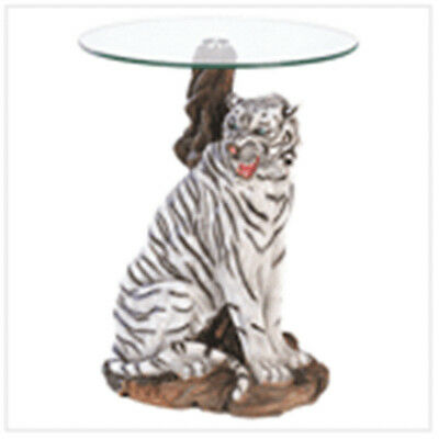 BEAUTIFUL WHITE TIGER ACCENT TABLE - TEMPERED GLASS TOP