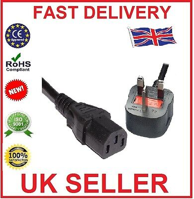 2M 3 Pin UK Mains Power Plug to IEC C13 Kettle Lead Cable Cord for PC Monitor TV