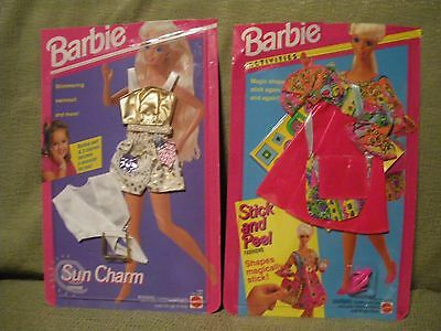 Barbie Sun Charm & Stick and Peel Fashions Set of 2 dated 1993, 1994