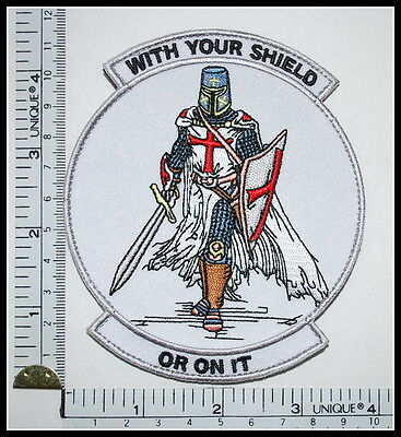 WITH YOUR SHIELD or on it TEMPLAR KNIGHTS patch CRUSADER tactical military WHITE