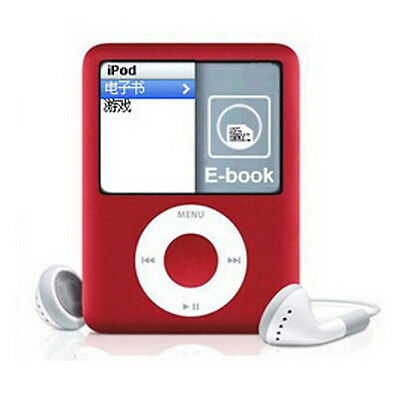 "New 8GB 8G Slim MP3 MP4 Music Player With 1.8"" LCD Screen Radio FM 3th Gen red"