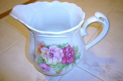 Vintage Three Crowns China Co. Germany Pitcher w/Pink Roses - Mint!