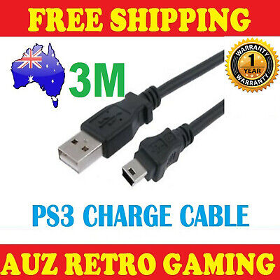 3m USB Power Charge Charger Cable Cord For Sony Playstation 3 Controller PS3