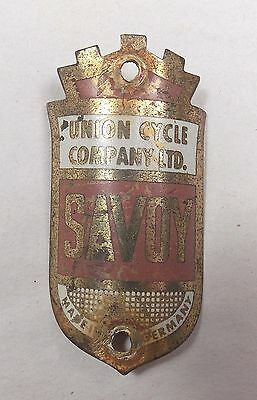 Vintage Antique BICYCLE HEAD BADGE Emblem SAVOY Union Cycle Co, GERMANY