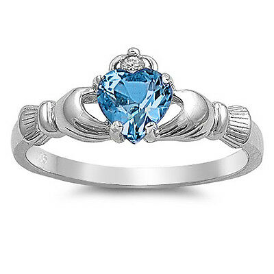 .925 Sterling Silver Irish Heart Simulated Blue Topaz CZ Claddagh Promise Ring