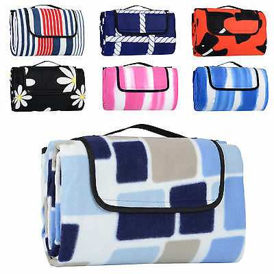 Folding Fleece Waterproof Picnic Blanket Outdoor Mat Rug Carry Bag 130cm x 150cm