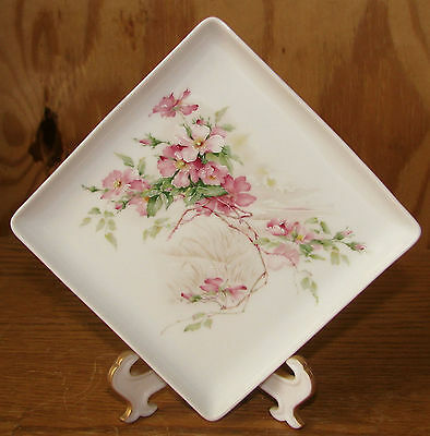 """Early Giraud Limoges France 4 3/4"""" Square Tray Dish Pink Roses & Water Scene EXC"""