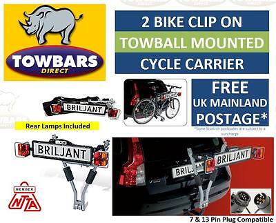 Briljant Clip On Towball Towbar Mounted Bike Cycle Carrier Complete With Lights