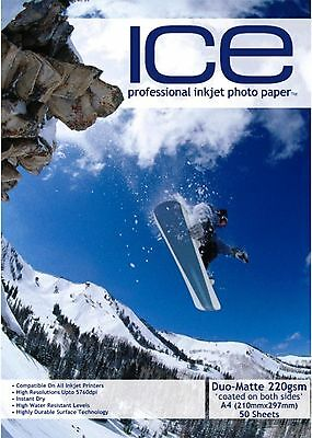 Ice Duo Matte Coated Inkjet Printer Photo Paper 220Gsm A4 50 Sheet Pack 5760Dpi