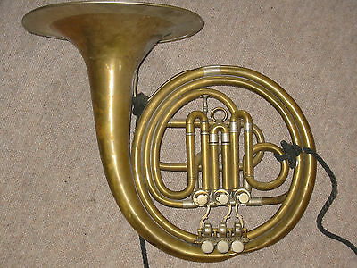 "Very old rotary French horn by ""Saibert"" w. garland needs service!"
