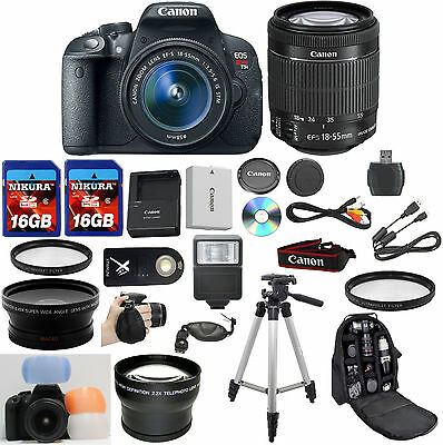 Canon EOS Rebel T5i Camera Bundle with Canon 18-55mm IS STM + W/A + Tele + 32GB+