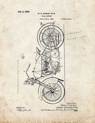 Harley Cycle Support Patent Print Old Look