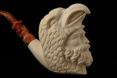 BirdMan Hand Carved Block Meerschaum Smoking Pipe in a fitted CASE 6463