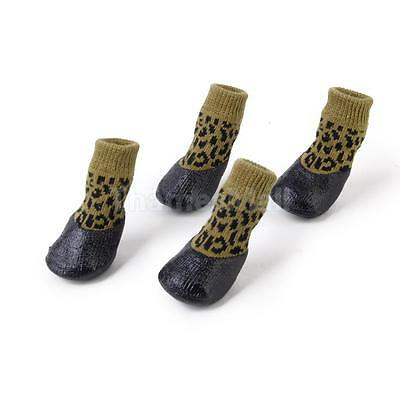 Leopard Print Waterproof Pet Dog Shoes Non-Slip Rubber Socks Paws Cover Size #0