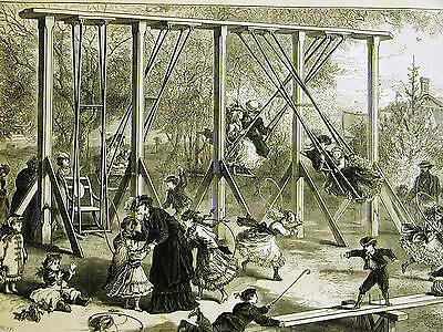 Arthur Lumley CHILDREN on the SWINGS in CENTRAL PARK NYC 1871Art Print Matted