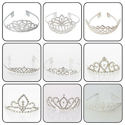 Bridal Flower Prom Wedding Pageant Veil Crystal Rhinestone Crown Tiara Silver