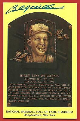 BILLY  WILLIAMS   AUTOGRAPHED   SIGNED   HALL  OF  FAME  PLAQUE   POSTCARD    !!