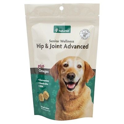 NaturVet Senior Dog Hip & Joint Advanced Formula Soft Chews Glucosamine 120 ct