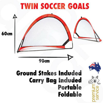 Twin Soccer Football Goals Portable Foldable Popup Net Pop-up Toy Practice 2x