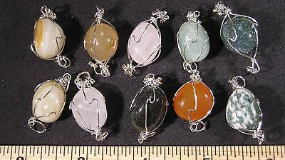 Pendant Tumbled Stone Crystal Wire Wrapped LOT 10 Pcs SILVER Plate Healing Reiki