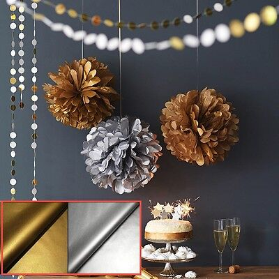 Gold, Silver +More Paper Pom Poms Wedding Party Baby Decoration Home Pompoms