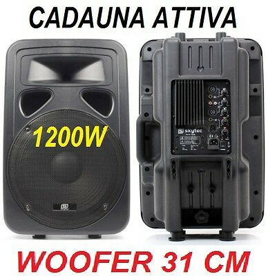 """COPPIA CASSE ATTIVE AMPLIFICATE 1200W full-range WOOFER 12"""" IN ABS diffusori act"""