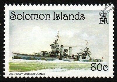 USS QUINCY (CA-39) Heavy Cruiser Warship Stamp (WWII Savo Island, Guadalcanal)
