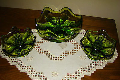 Set of Two Vintage Viking Green Glass Taper Candle Holder & Center Piece VGC