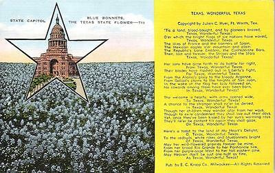 LINEN PC- TEXAS STATE CAPITOL + STATE POEM, 1930's, EXC