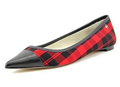 New Michael Kors Philippa Ballet Womens 11 M Red Black Plaid Leather Flats Shoes