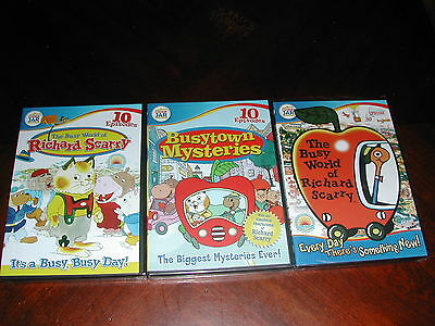 The Busy World of Richard Scarry Lot of 3 New Dvd Busytown Mysteries 50 Episodes