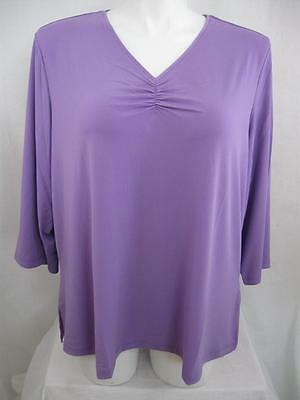 Susan Graver 3/4 Sleeve Liquid Knit Polyester Top w/Shirring Detail in Lilac