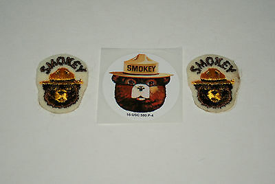 2 Vtg 1970s Smokey The Bear Prevent Forest Fires Tiny Patches 1 Sticker New NOS