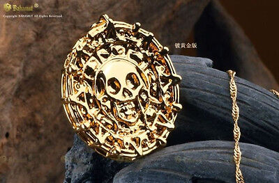 New Charms Pirates Of The Caribbean Cursed Aztec Coin Medallion Gold Necklace