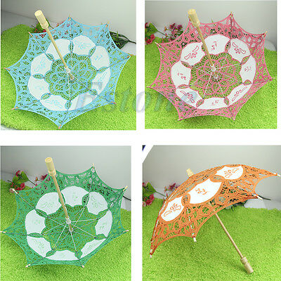 New 25cm Lace Embroider Parasol Umbrella For Wedding Bridal Party Decorate