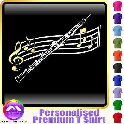 Oboe Curved Stave - Personalised Music T Shirt 5yrs - 6XL by MusicaliTee